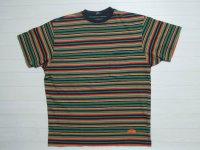 80's stussy Tシャツ/黒タグ-USA製/ラスタボーダー/M