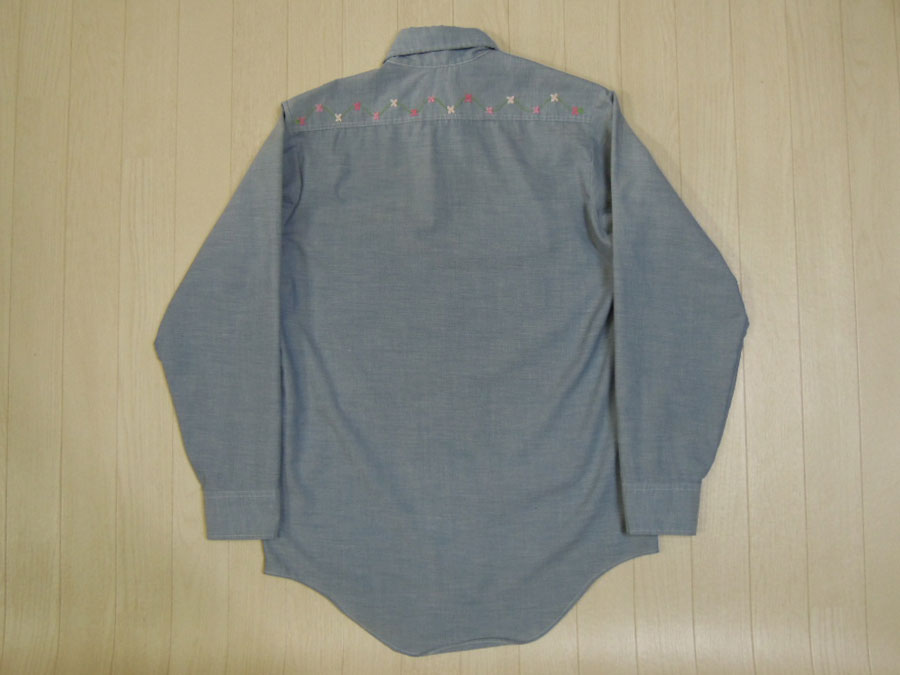 画像2: 70's BIGMAC 刺繍シャンブレーシャツ/S