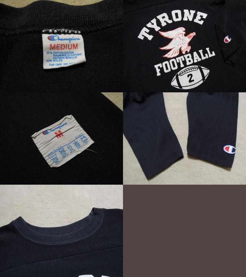 画像3: 80's CHAMPION フットボールTシャツ/ブラック!/M