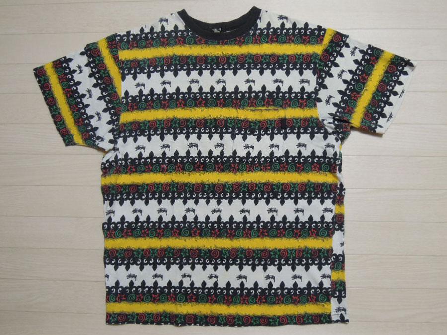 画像1: 80's stussy Tシャツ/黒タグ-USA製/ラスタ/L