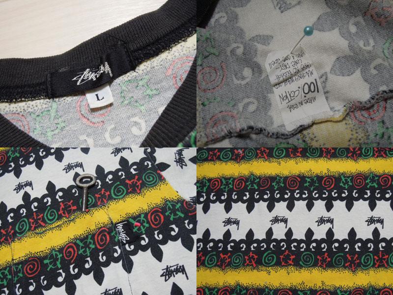 画像3: 80's stussy Tシャツ/黒タグ-USA製/ラスタ/L