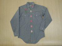 70's BIGMAC 刺繍シャンブレーシャツ/S