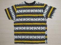 80's stussy Tシャツ/黒タグ-USA製/ラスタ/L