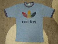 80's adidas Tシャツ/霜降り&レインボー/XL