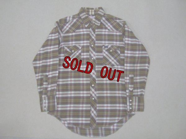 画像1: 70's白タグ USA製 Wrangler ネルウエスタンシャツ/M
