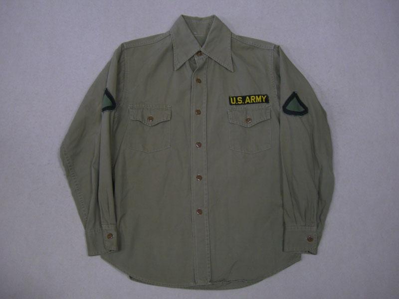 画像1: 50's US ARMY シャツ/尿素ボタン/S