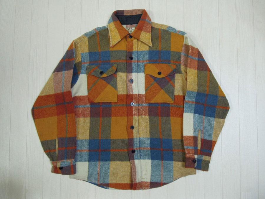 画像1: 70's CAMPUS ウールCPOシャツ/M