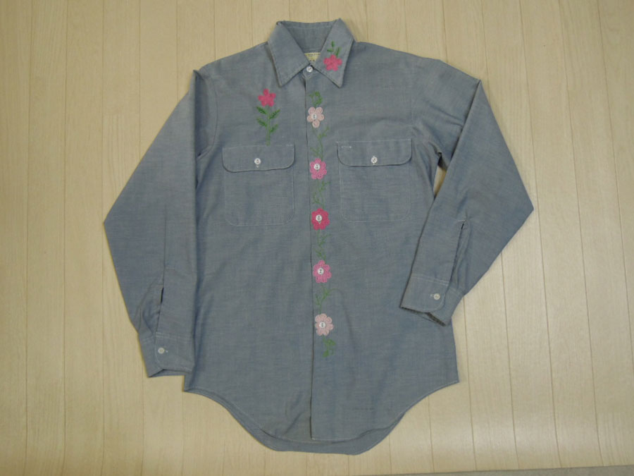 画像1: 70's BIGMAC 刺繍シャンブレーシャツ/S