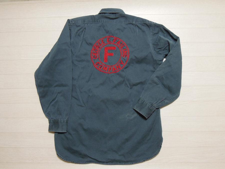 画像1: 50's Lee コットンワークシャツ/チェーンステッチ刺繍