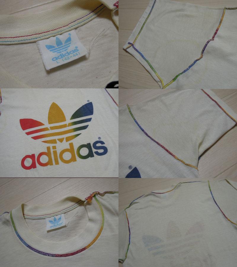画像3: 80's adidas Tシャツ/レインボー/L