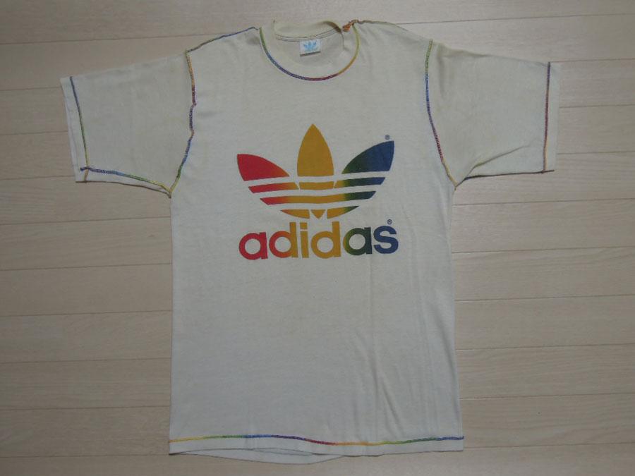 画像1: 80's adidas Tシャツ/レインボー/L