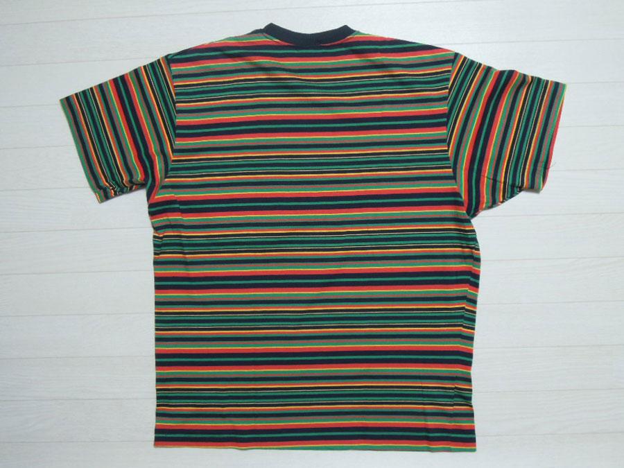 画像2: 80's stussy Tシャツ/黒タグ-USA製/ラスタボーダー/M