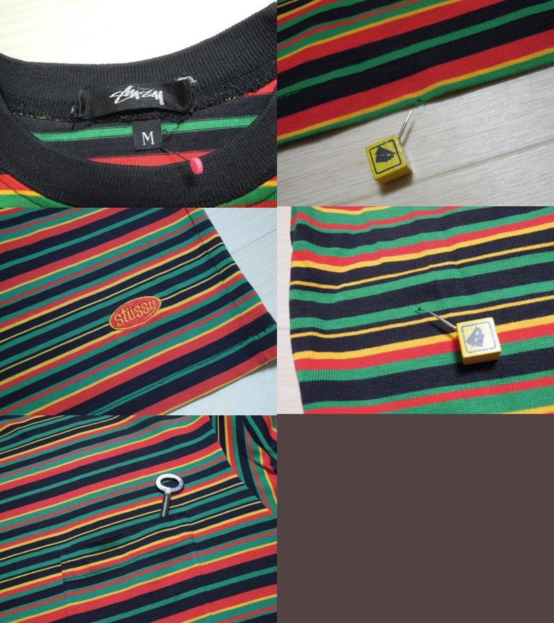 画像3: 80's stussy Tシャツ/黒タグ-USA製/ラスタボーダー/M