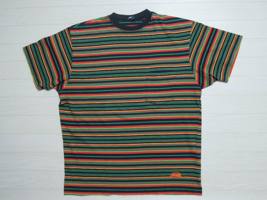 画像1: 80's stussy Tシャツ/黒タグ-USA製/ラスタボーダー/M
