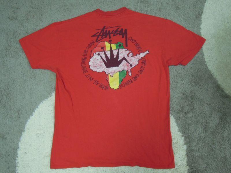 画像1: 80's stussy Tシャツ/黒タグ-USA製/初期ラスタ/L〜XL