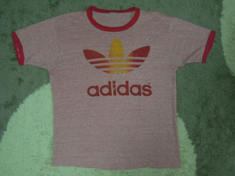 画像1: 80's adidas Tシャツ/霜降り&レインボー/L