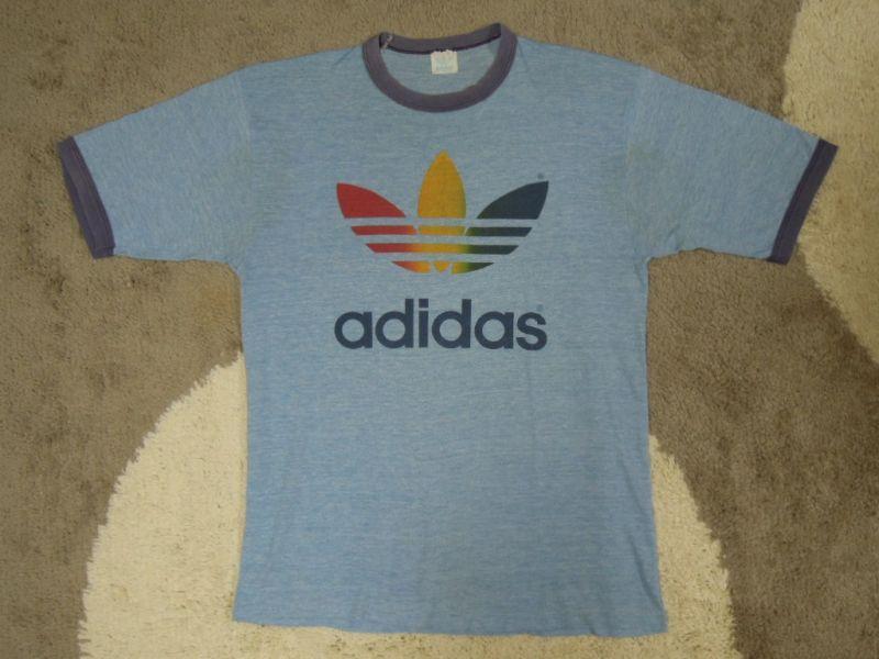 画像1: 80's adidas Tシャツ/霜降り&レインボー/XL