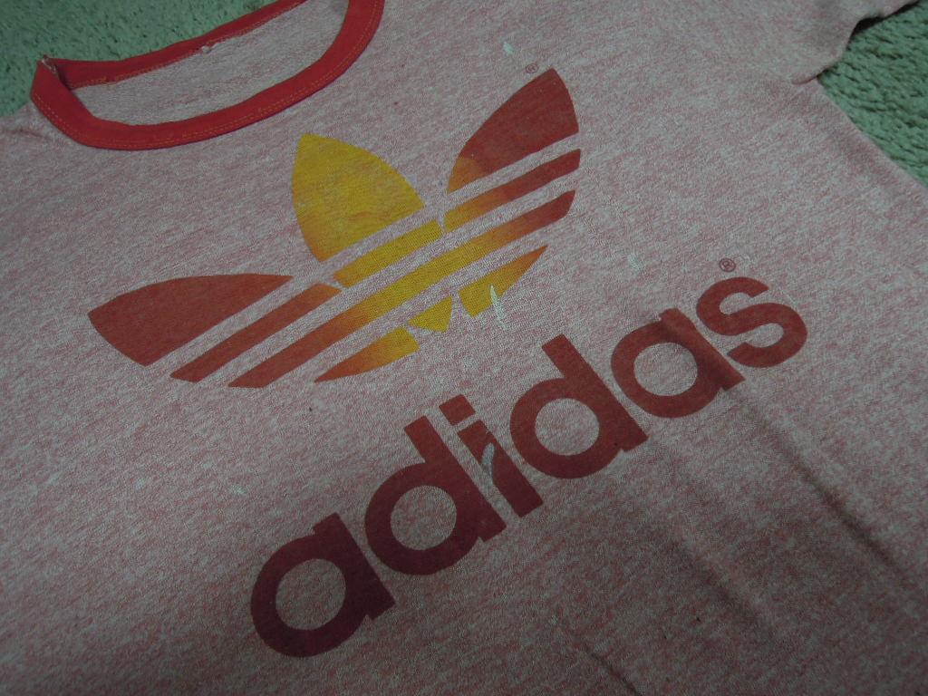 画像4: 80's adidas Tシャツ/霜降り&レインボー/L