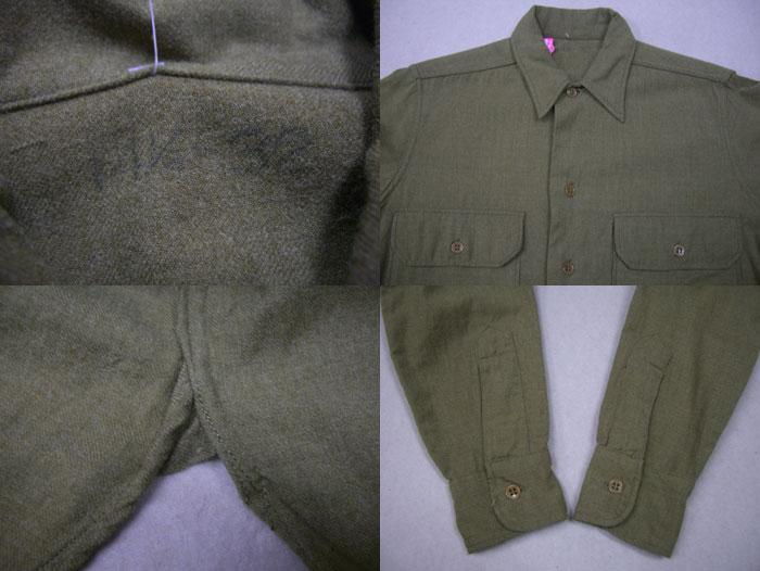 画像3: 〜50's US ARMY ウール長袖シャツ/マチ付/14ハーフ