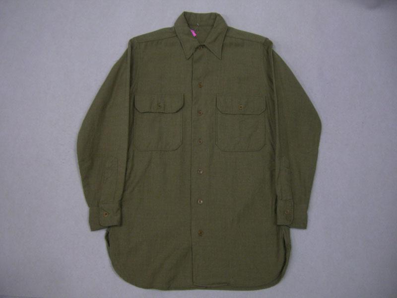 画像1: 〜50's US ARMY ウール長袖シャツ/マチ付/14ハーフ